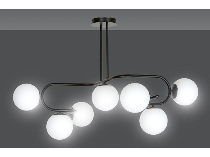 RAGI 7 BLACK 1028/7 duża lampa sufitowa plafon do salonu klosze kule DESIGN