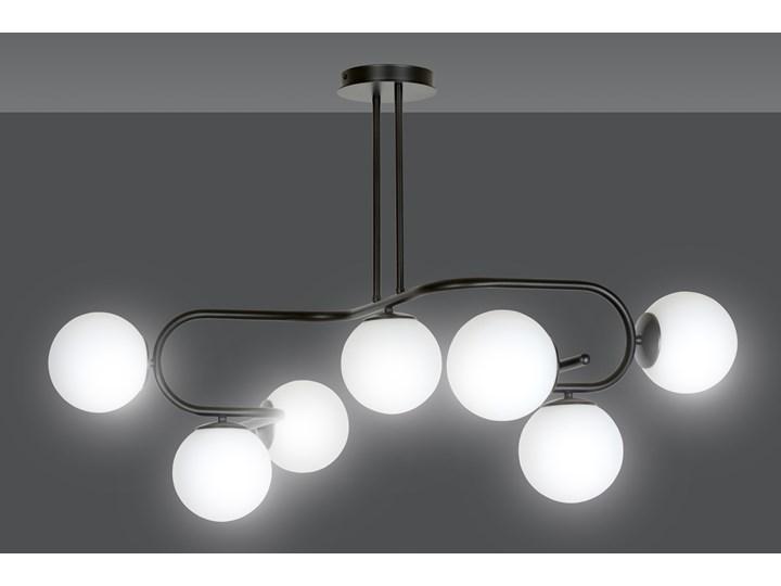 RAGI 7 BLACK 1028/7 duża lampa sufitowa plafon do salonu klosze kule DESIGN Lampa z kloszem Szkło Funkcje Brak dodatkowych funkcji Metal Pomieszczenie Sypialnia
