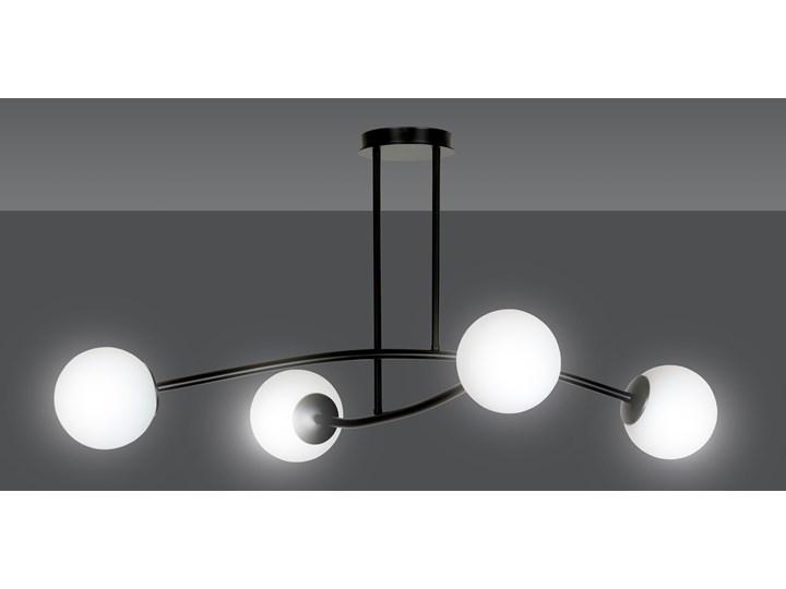 HALLDOR 4 BLACK 1024/4 oryginalna lampa sufitowa czarna LOFT szklane mleczne klosze Szkło Lampa z kloszem Metal Kolor Czarny