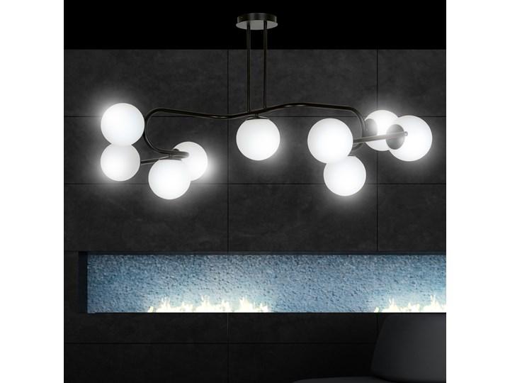 RAGI 9 BLACK 1028/9 duża lampa sufitowa plafon do salonu klosze kule DESIGN Metal Lampa z kloszem Szkło Styl Nowoczesny