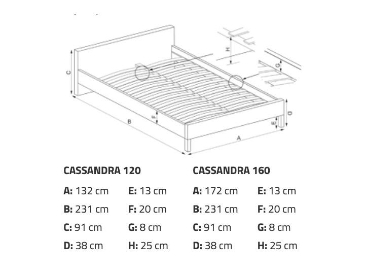 Tapicerowane ekoskórą łóżko z zagłówkiem Cassandra 160 Rozmiar materaca 160x200 cm Łóżko tapicerowane Pojemnik na pościel Bez pojemnika
