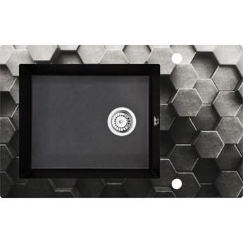 Deante Andante zlewozmywak szklano-granitowy 78x49 cm grafitowy metalik ZSN GL1C