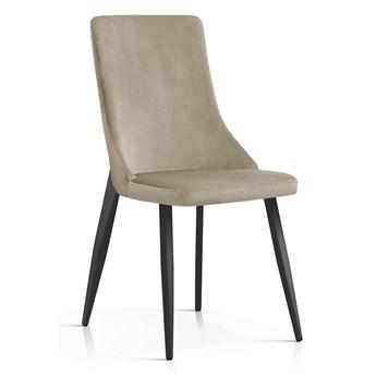 Krzesło Elza beż aksamit / CZARNE