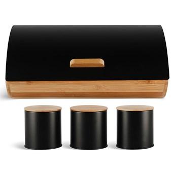 Chlebak drewniany Rossner 3230 czarny pojemnik na pieczywo metalowa pokrywa w zestawie z pojemnikami