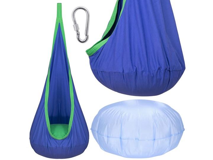 Huśtawka dla dzieci kokon wiszący fotel hamakowy niebiesko-zielony Poliester Bawełna Kategoria Huśtawki dla dzieci