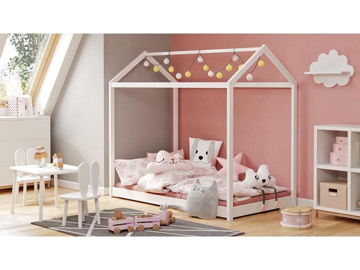 Białe drewniane łóżko domek - Melody Domki Drewno Płyta MDF Kolor Biały