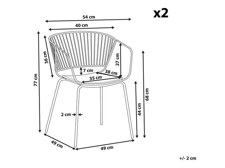 Zestaw 2 krzeseł miedzianych metalowych z czarnymi poduszkami na siedzisko z ekoskóry styl nowoczesny Szerokość 54 cm Głębokość 49 cm Skóra Tworzywo sztuczne Wysokość 77 cm Skóra ekologiczna Pomieszczenie Salon