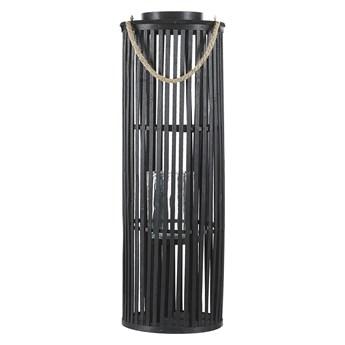 Lampion czarny drewniany 80 cm świecznik naturalny styl boho
