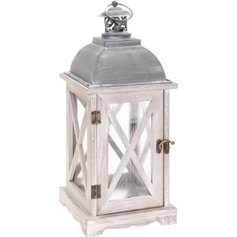 Lampion drewniany, 41 cm, biały