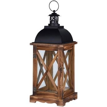Lampion drewniany z czarnym uchwytem, 41 cm, brązowy