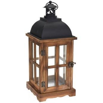 Lampion dekoracyjny z czarnym uchwytem, drewniany, 41 cm, brązowy