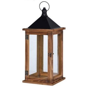 Lampion dekoracyjny z drewna, 41 cm, brązowy