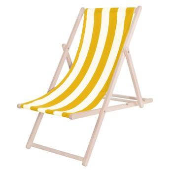 Leżak drewniany z materiałem żółte pasy