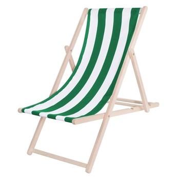 Leżak drewniany lakierowany, plażowa leżanka z materiałem zielone pasy