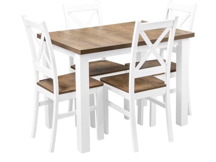 Stół + 4 Krzesła do Kuchni Jadalni 100x70 Brąz Kategoria Stoły z krzesłami Kolor Biały