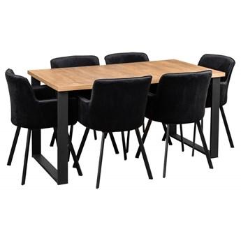 Zestaw LOFT Stół + Czarne Krzesła do Salonu 150x80