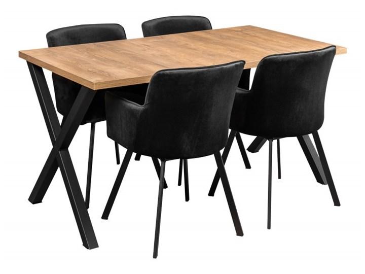 Zestaw LOFT Stół + Czarne Krzesła do Salonu 150x80 Kolor Czarny
