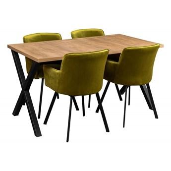 Zestaw LOFT Stół + Oliwkowe Krzesła do Salonu 150x80