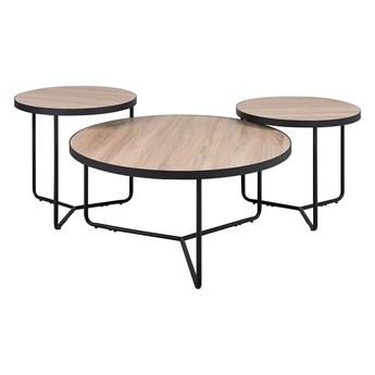 Zestaw 3 stolików kawowych jasne drewno czarna rama okrągłe 80/50/50 cm industrialne