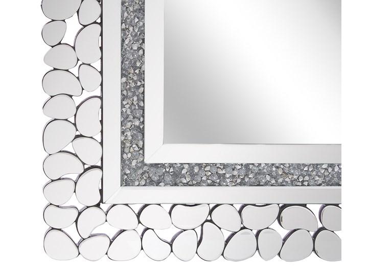 Lustro ścienne srebrne 60 x 90 cm prostokątne wiszące dekoracyjna lustrzana rama styl glamour Nieregularne Lustro z ramą Kolor Srebrny