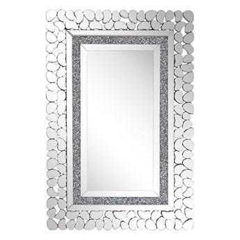 Lustro ścienne srebrne 60 x 90 cm prostokątne wiszące dekoracyjna lustrzana rama styl glamour