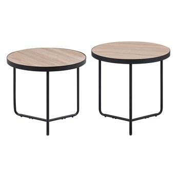 Zestaw 2 stolików kawowych jasne drewno czarna rama okrągłe 45/50 cm industrialne
