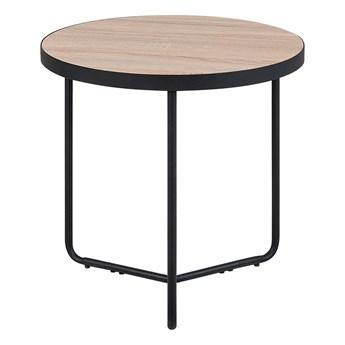 Stolik pomocniczy jasny drewniany blat metalowe czarne nóżki okrągły 50 x 50 cm nowoczesny wygląd