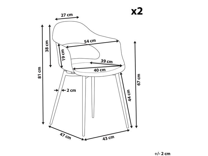 Zestaw 2 krzeseł szarych plastikowych nóżki jasne drewno ozdobne do jadalni styl skandynawski Głębokość 47 cm Styl Nowoczesny Metal Szerokość 54 cm Tworzywo sztuczne Wysokość 81 cm Pomieszczenie Salon
