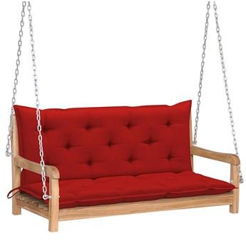 Drewniana huśtawka z czerwoną poduszką - Paloma 2X