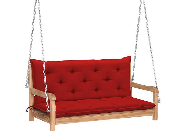 Drewniana huśtawka z czerwoną poduszką - Paloma 2X Kolor Czerwony Materiał stelaża Drewno