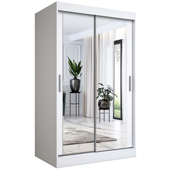 Biała szafa przesuwna z lustrem 120 - Edna 3X