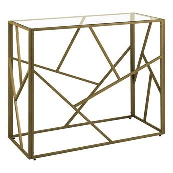 Konsola złota metalowa 100 x 40 cm szklany blat geometryczna rama nowoczesna