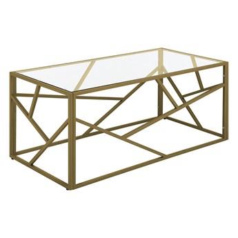 Stolik kawowy złoty przeźroczysty szklany blat metalowa rama 100 x 50 x 45 cm glamour design