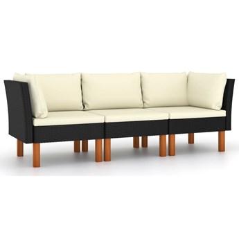 vidaXL 3-osobowa sofa ogrodowa z poduszkami, polirattan, czarna