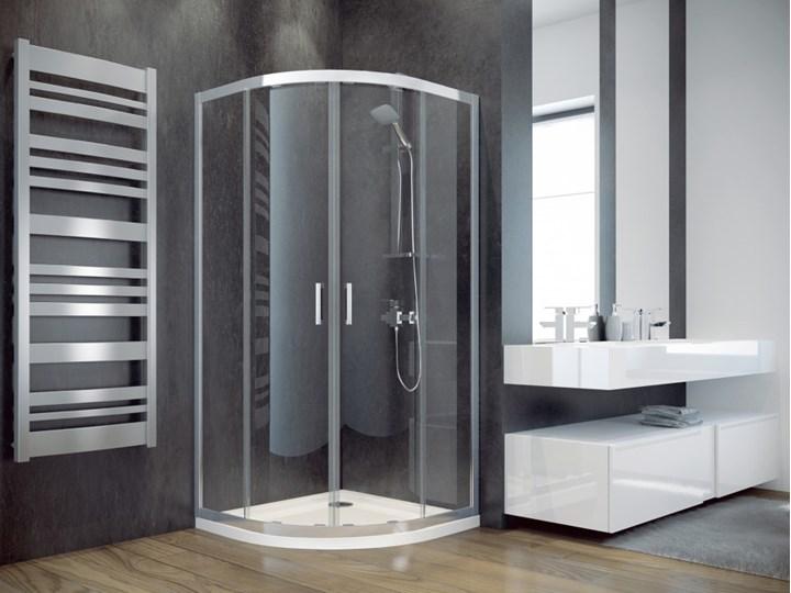 Kabina prysznicowa Modern 185, 80x80 cm, półokrągła, szkło mrożone