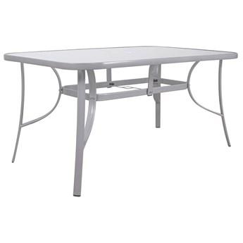 Stół ogrodowy i na taras szkło z metalu szary 150 cm