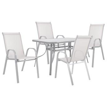 Meble ogrodowe zestaw ogrodowy dla 4 osób metal i szkło kremowy