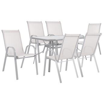 Meble ogrodowe zestaw ogrodowy dla 6 osób metal i szkło szary