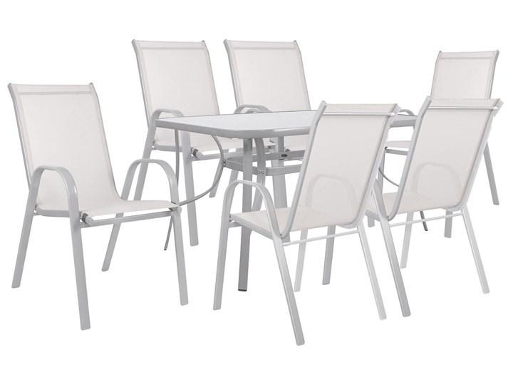 Meble ogrodowe zestaw ogrodowy dla 6 osób metal i szkło kremowy Stoły z krzesłami Kolor Beżowy Stal Zawartość zestawu Stół