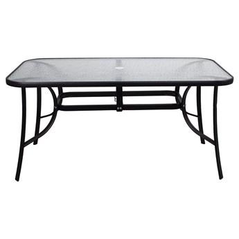 Stół ogrodowy i na taras szkło z metalu czarny 150 cm