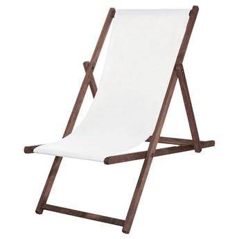Leżak drewniany impregnowany z materiałem białym