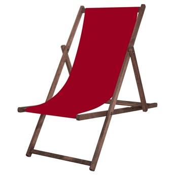 Leżak drewniany impregnowany z materiałem bordowym