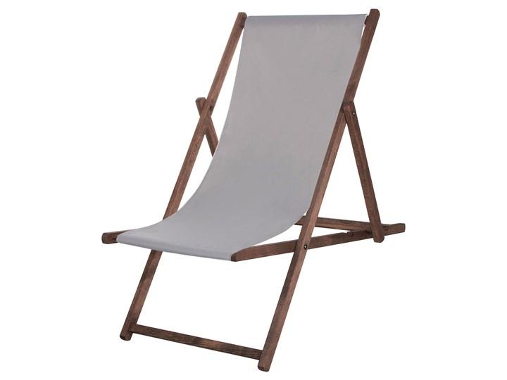 Leżak drewniany impregnowany z materiałem popielatym Kategoria Leżaki ogrodowe Drewno Kolor Szary