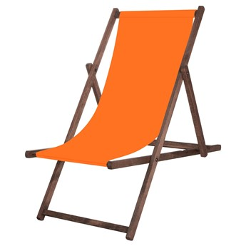 Leżak drewniany impregnowany z materiałem pomarańczowym
