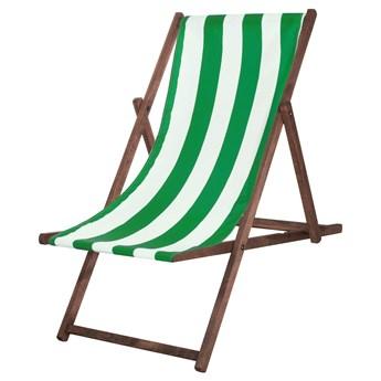 Leżak drewniany impregnowany z materiałem zielone pasy