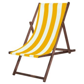 Leżak drewniany impregnowany z materiałem żółte pasy