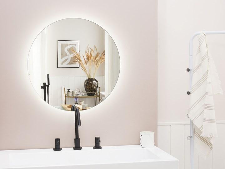Lustro łazienkowe wiszące okrągłe srebrne 60 cm światło LED nieparujące Kolor Srebrny Styl Nowoczesny