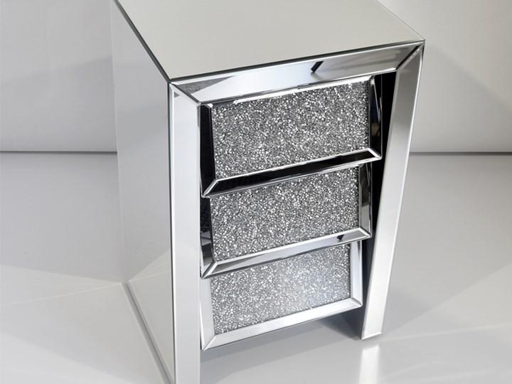 Lustrzana szafka nocna z kryształkami 45 x 36 x 70 cm 17JS002 outlet Szkło Typ Narożne