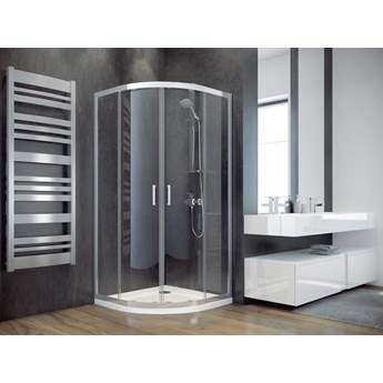 Kabina prysznicowa Modern 185, 80x80 cm, półokrągła, szkło grafitowe