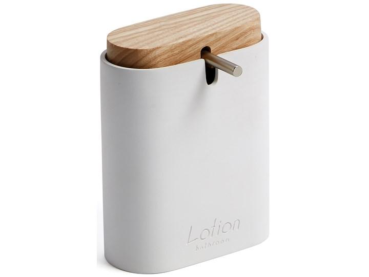 Dozownik do mydla Elora bialy i drewno bukowe